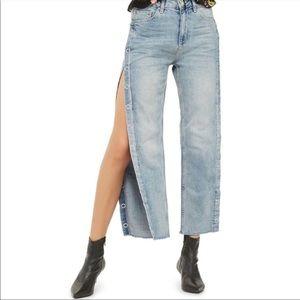 TOPSHOP MOTO Jeans Snap Button Vintage Wash Blue